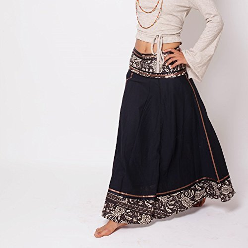 Handmade Bohemian Long Black Wrap Cotton Skirt, Maxi Gypsy Skirt with Oriental Pattern a Boho Chic Tribal Festival Clothing
