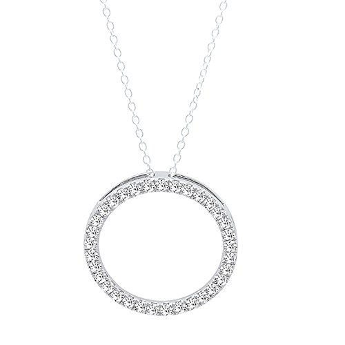 0.10 Carat (ctw) 18K White Gold Round White Diamond Circle Pendant 1/10 CT (Silver Chain Included) -