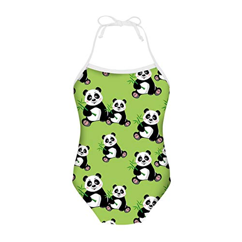 (HUGS IDEA Girls One Piece Swimsuit Panda Cute Cartoon Swimwear Beach Halter Backless Bathing)