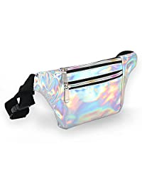 Holographic Fanny Pack for Women - Metallic Sport Waist Pack for Men for Running, Hiking, Traveling, Camping, Partying, Jogging (Silver)