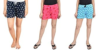 Club A9 Women's Regular Cotton Printed Shorts (Pack of 3)