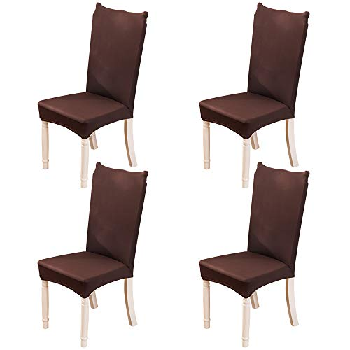 MIFXIN Chair Cover Set High Back Chair Protective Cover Slipcover Universal Stretch Elastic Chair Protector Seat Covers for Dining Room Wedding Banquet Party Decoration (Coffee, 4 Pcs)