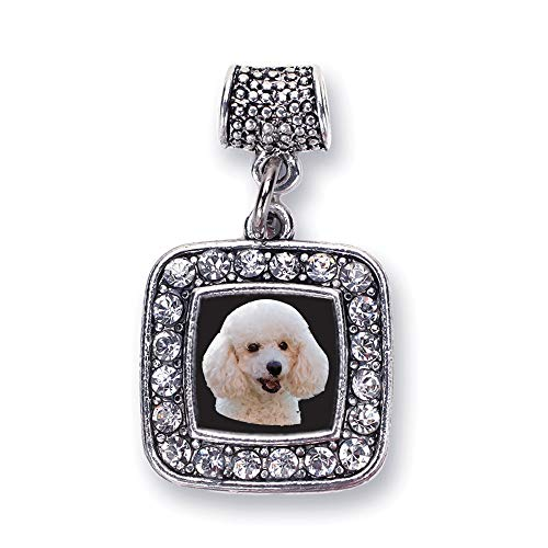 Inspired Silver - The Poodle Memory Charm for Women - Silver Square Charm for Bracelet with Cubic Zirconia Jewelry