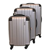 ICE CANADA 3-Piece Luggage Set made from ABS - Large, Medium and Carry On Suitcase with Wheels, Lock, and Telescopic Handle Luggage Spinner Hardside Lightweight Hard Side ABS (Gray)