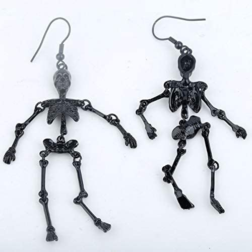A pair of pretty tibetan silver hanging skeleton halloween dangly clip on earrings.