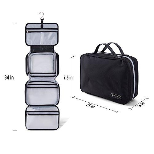 "Premium Hanging Toiletry Bag Travel Kit for Men and Women | XL (34""x11"") | Leak Proof | Clear Pockets | Detachable Compartment | Black"