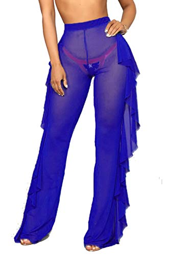 Doqcey Women's Perspective Sheer Mesh Ruffle Pants Swimsuit Bikini Bottom Cover up (Navy Blue, 2XL)