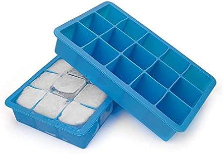 bedee Cubitera Hielo,2pcs Moldes para Cubitos de Hielo,Molde Silicona Sin BPA, para Congelarse Alimentos para Bebés, Cola,Cócteles Cola Whisky (Azul)
