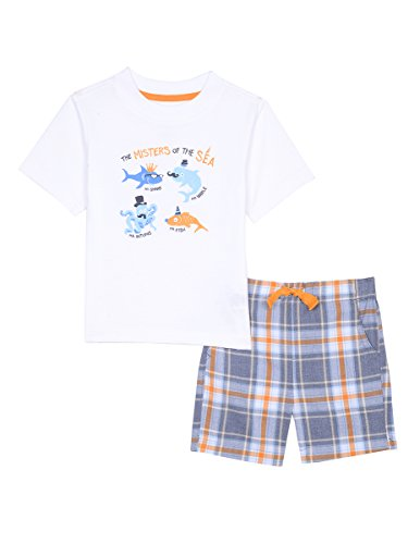 Nautica Baby Boys' Graphic Tee With Pull On Short Set, Masters White, 12m