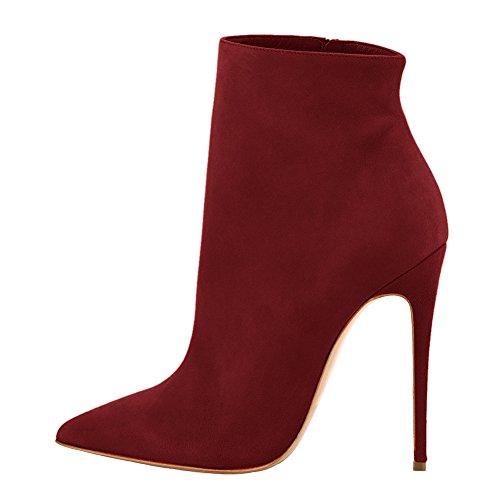 Dress Heels Booties Toe Women's Side Boots Ankle High Onlymaker Zipper Pom Pointed Burgundy w6zIxa