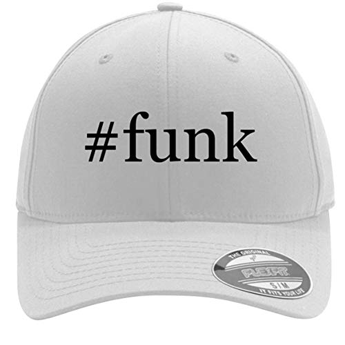 #Funk - Adult Men's Hashtag Flexfit Baseball Hat Cap, White, Large/X-Large