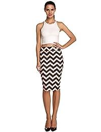 ACEVOG Womens Ladies Plain Pleated Office High Waisted Pencil Bodycon Midi Skirt