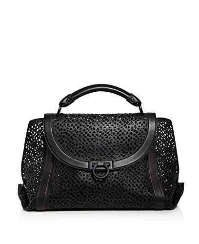 Salvatore Ferragamo Large Soft Sofia Leather Satchel Black Grey Laser Cut Handbag Bag New