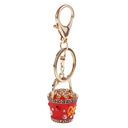 Citrine Barrel - NATFUR Barrel Money Lucky Keychain Rhinestone Wealth Keyring Jewelry Key Ring Gifts Elegant Pretty Novelty Key-Chain Holder Perfect for Girls for Gift Fine Lovely