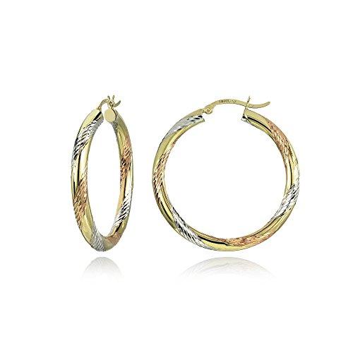 14K Gold Tri Color Polished & Diamond-Cut 3x38mm Lightweight Medium Round Hoop Earrings by Hoops & Loops