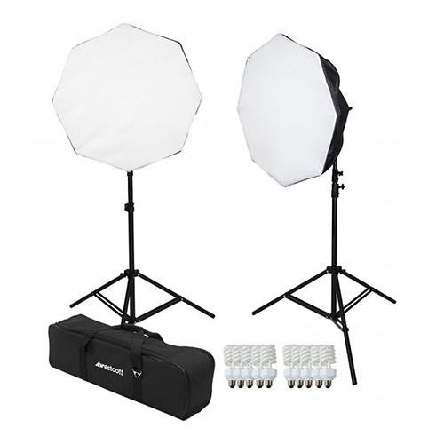 Westcott 2 Light D5 Daylight Octabox Kit with Case, 2x D5 5-Socket Light Head, 10x Fluorescent Lamp, 2x Power Cord, 2x Octabox, 2x 6.5' Light Stand (Westcott Light Stands)