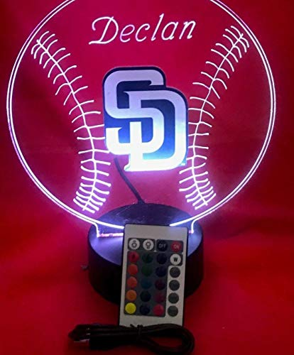 San Diego Beautiful Handmade Acrylic Personalized Padres MLB Baseball Light Up Light Lamp LED Lamp, Our Newest Feature - It's WOW, With Remote, 16 Color Options, Dimmer, Free Engraved, Great Gift