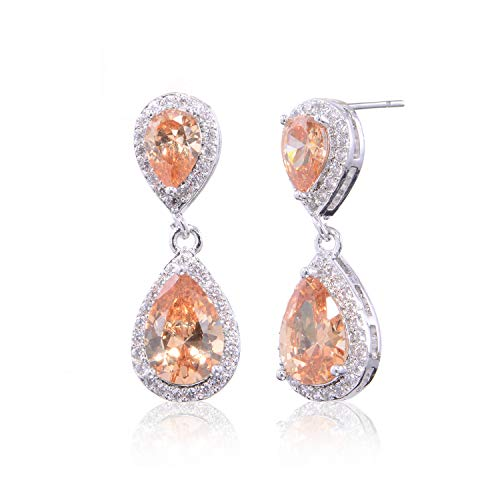 Champagne Earrings for Wedding - Pave Teardrop Earrings Sterling Silver Pear-shaped CZ Cubic Zirconia Crystal Rhinestone Dangle Drop Earrings Bridal Jewelry for Bride Bridesmaids Party Prom Dance