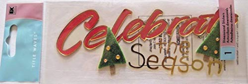 Celebrate The Season Title Christmas Tree Rare 3D Stickers