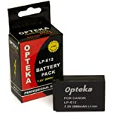 Opteka LP-E12 LPE12 2000mAh Ultra High Capacity Li-ion Battery Pack for Canon EOS M M2 Rebel SL1 100D DSLR Digital Camera