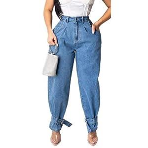 Comaba Womens Ripped-Holes Elastic Hi-Waist Skinny Pencil Pants Denim Pants
