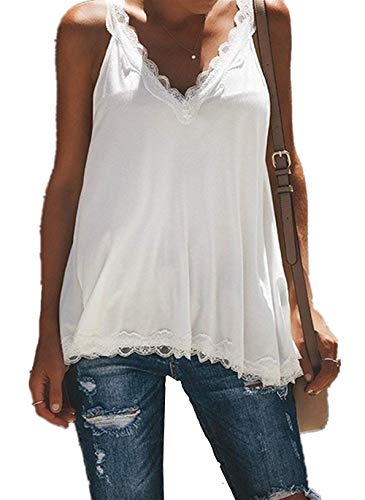 MISSLOOK Women's Deep V Neck Tank Tops Sleeveless Lace Trim Camis Loose Summer Backless Shirts Blouses - White - Top Trim V-neck Wide