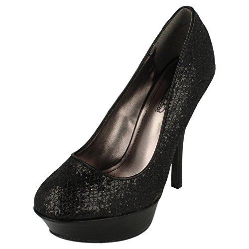 Spot On Heeled Platform Court / Glitter Mesh Black fEM71V