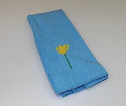 light blue kitchen towels embroidered tulip kitchen towel in light blue 6965