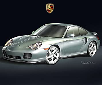 2002 PORSCHE 911 TURBO (SILVER)- ART PRINT POSTER BY ARTIST DANNY WHITFIELD -
