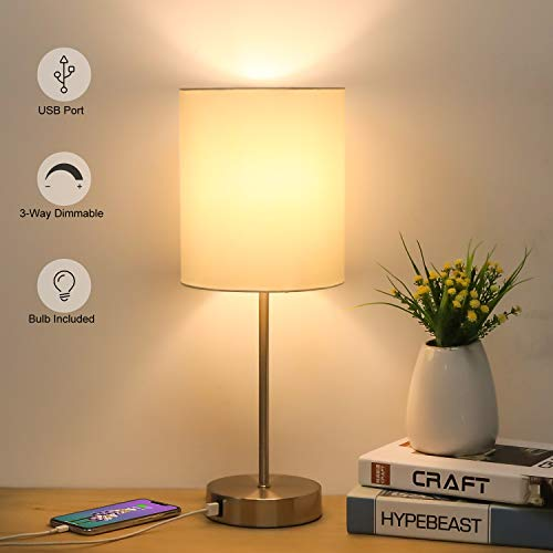 USB Bedside Table Lamp, 3-Way Dimmable Touch Lamp Modern Nightstand Lamp with Round Fabric Lampshade Metal Base Ambient Light for Bedroom, Office, Guest Room, Dorm, 6W 2700K LED Edison Bulb Included