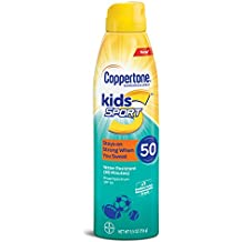 Coppertone Kids Sport Sunscreen Water Resistant Continuous Spray Broad Spectrum SPF 50, 5.5 Ounces