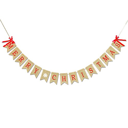 Merry Christmas Banner Burlap, Konsait Christmas Party Bunting Banner Garland with Snowflake Pattern for Fireplace Picture Outdoor Indoor Decorations,Xmas Home Photo Prop Party Decor Favors Supplies (Christmas Merry Banner Photo)