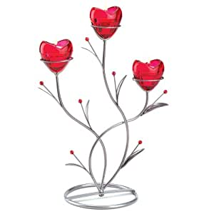 Gifts & Decor Ruby Red Heart Bouquet Wedding Centerpiece Candle Holder