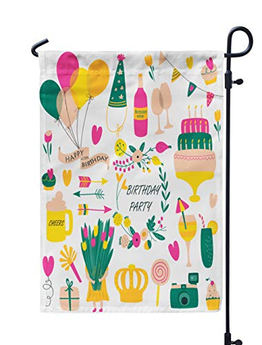Soopat Arrows Flower Seasonal Flag, Birthday with Balloons Flowers Candies Hearts Weatherproof Double Stitched Decorative Flags for Garden Yard 12 L x 18 W Welcome Garden Flag