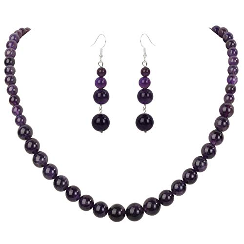 YACQ 925 Sterling Silver Amethyst 6mm 8mm 10mm Gemstone Beads Necklace Earrings Sets Handcrafted Jewelry for Women (18, Amethyst) ()