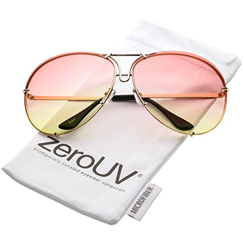 zeroUV - Oversize Slim Metal Arms Color Tinted Gradient Lens Aviator Sunglasses 68mm (Gold / Orange - Aviators Orange Tinted