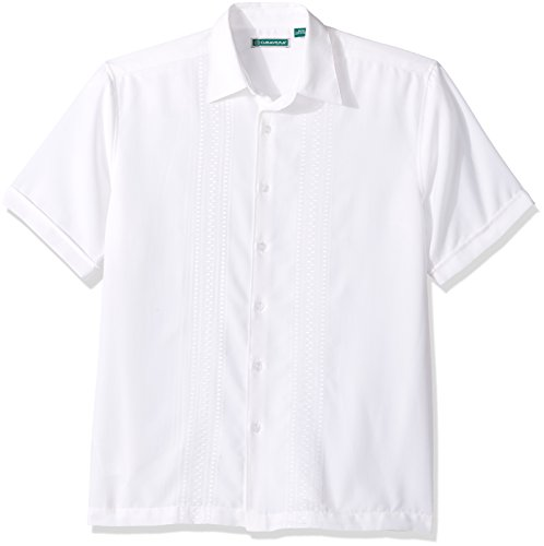 (Cubavera Men's Short Sleeve Polyester Embroidered-Panel Button-Down Shirt, Bright White Small)