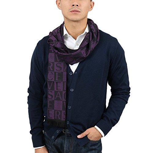Versace IT00643 VIOLA Purple 100% Wool Mens Scarf for mens