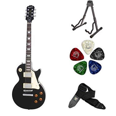 Epiphone Les Paul STANDARD Electric Guitar (Ebony) Accessory Bundle with Stand, Picks, and Strap - Ebony Rosewood Fretboard