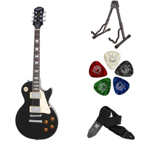 Epiphone Les Paul STANDARD Electric Guitar (Ebony) Accessory Bundle with Stand, Picks, and Strap - Ebony Guitar Pick