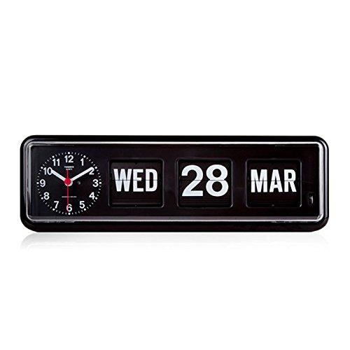 Retro Calendar Wall Clock - Homeloo x Twemco German Quartz Retro Modern Calendar Wall Flip Clock BQ 38 (Black)