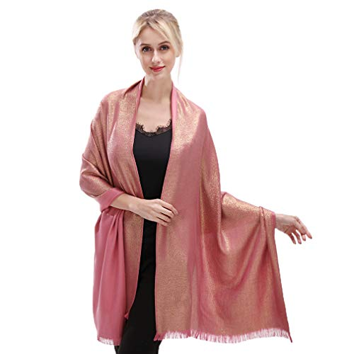 Rose Wrap - LMVERNA Women Sparkling Metallic Fringed Scarf Lightweight Fashion Large Pashmina Shawls And Wraps For Evening Dresses(Rose-Gold)