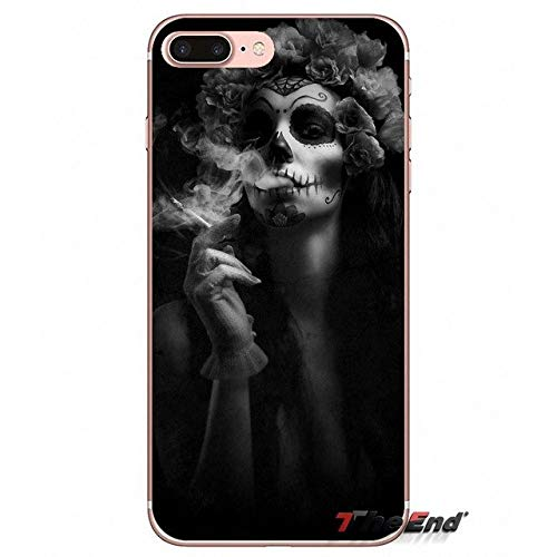 Grey La Calaver Catrina iPhone 7 Plus Sized Case, Bigger Screen Black Skeleton Pattern 8 Plus Cover Spanish Painting Mexico Death Vintage Day of The Dead Floral Theme Halloween Rose, Plastic]()