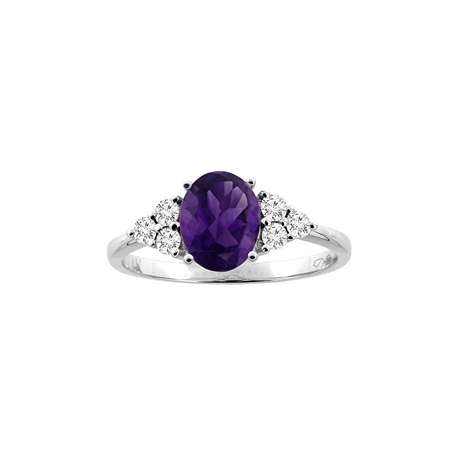14K Gold Natural Amethyst Ring Oval 8x6 mm Diamond Accents, sizes 5 10
