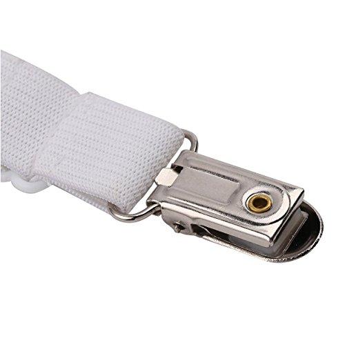 Toweter 6 Lados Ajustable Elástico Sujetadores de Sábana, Ajuste para Todos los Colchones Redondos y Cuadrados del Tamaño (Blanco)