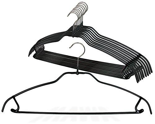 MAWA Style 42-FTU Reston Lloyd Silhouette Ultra Thin Series, Non-Slip Space Saving Clothing Hangers, Pack of 10 Black