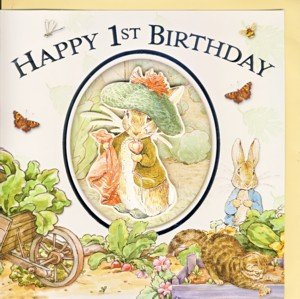 Happy 1st Birthday Handcrafted Peter Rabbit Card