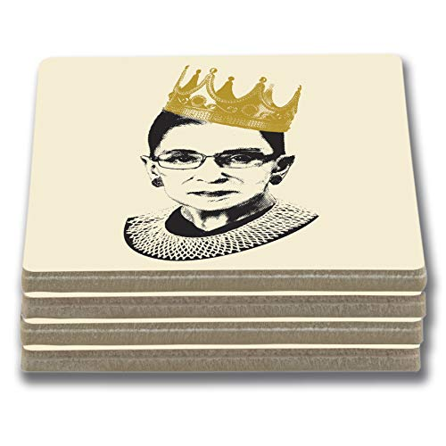 EXIT82ART - Stone Drink Coasters. Notorious RBG - Ruth Bader Ginsburg. Tumbled Stone, Cork-backed ()