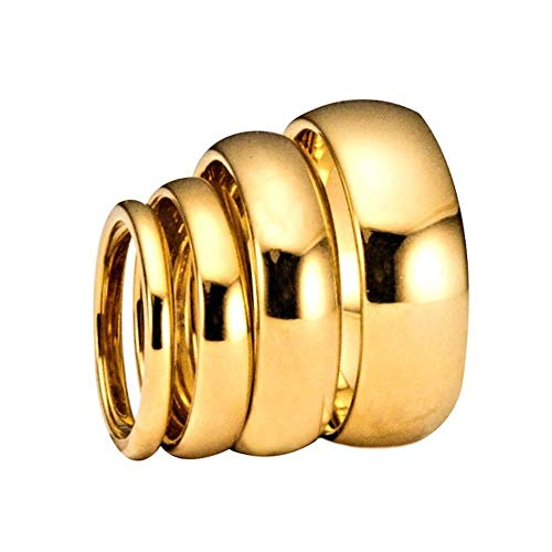 MJ Metals Jewelry 3, 4, 5, 6, 8 or 10mm Gold Plated Polished Tungsten Carbide Wedding Ring Classic Half Dome Band