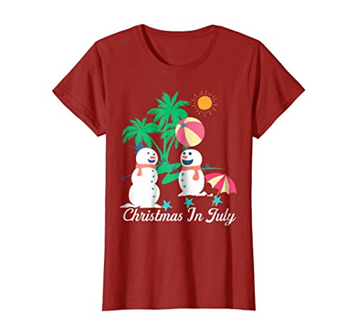 Womens Merry Christmas In July T Shirts Decoration Party Supplies Large Cranberry -